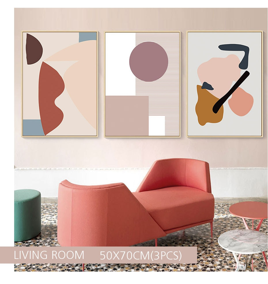 Abstract Warm Geometric Canvas Painting Scandinavia Interior Wall Art Pictures Poster and Print Gallery for Bedroom Home Decor