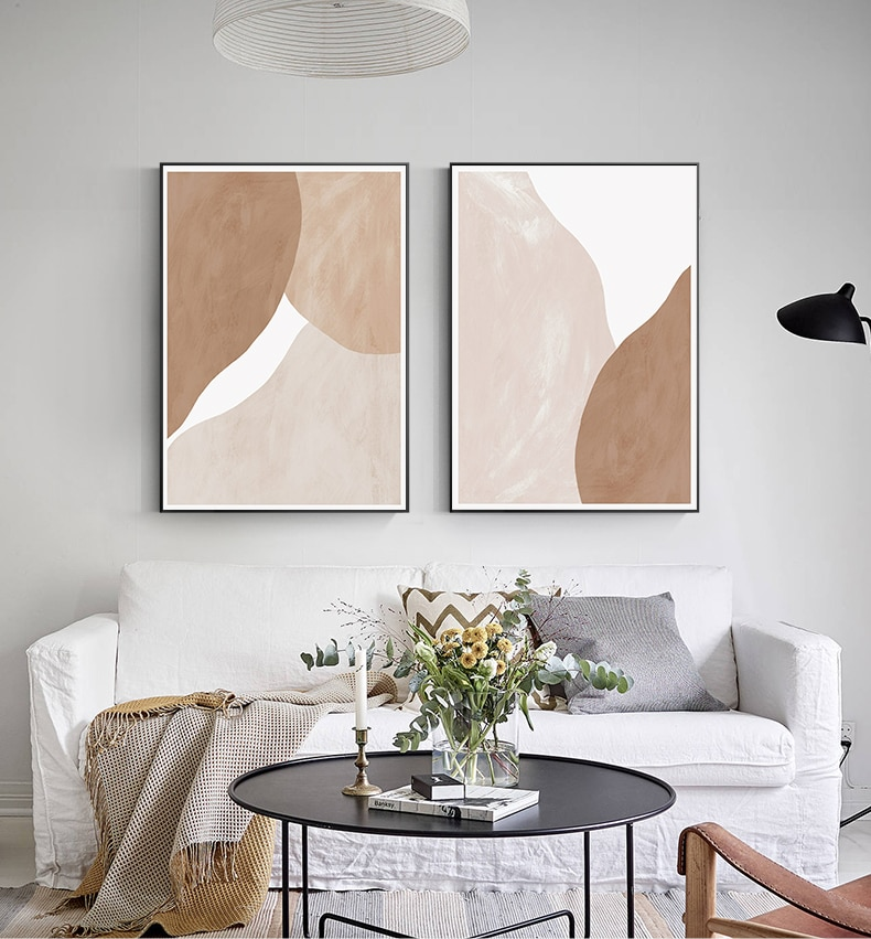 Abstract Pale Beige and Terracotta Canvas Painting Boho Wall Art Picture Poster Print for Living Room Interior Home Decoration