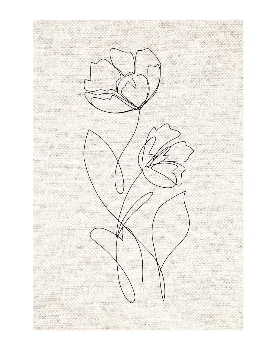 Abstract Hand Sketch Line Floral Boho Beige Wall Art Canvas Painting Picture Poster Prints Living Room Home Interior Decoration