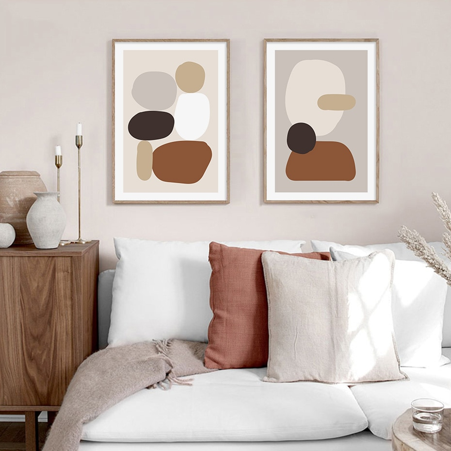 Abstract Bohemia Geometric Wall Art Mountain Tree Canvas Paintings Poster Prints for Bedroom Living Room Decor Home Decorative