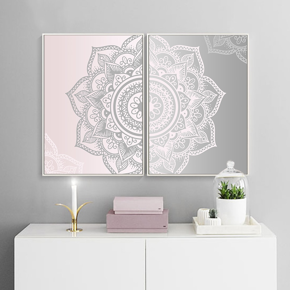 Pink & Silver Mandala Diptych Wall Art Poster Prints