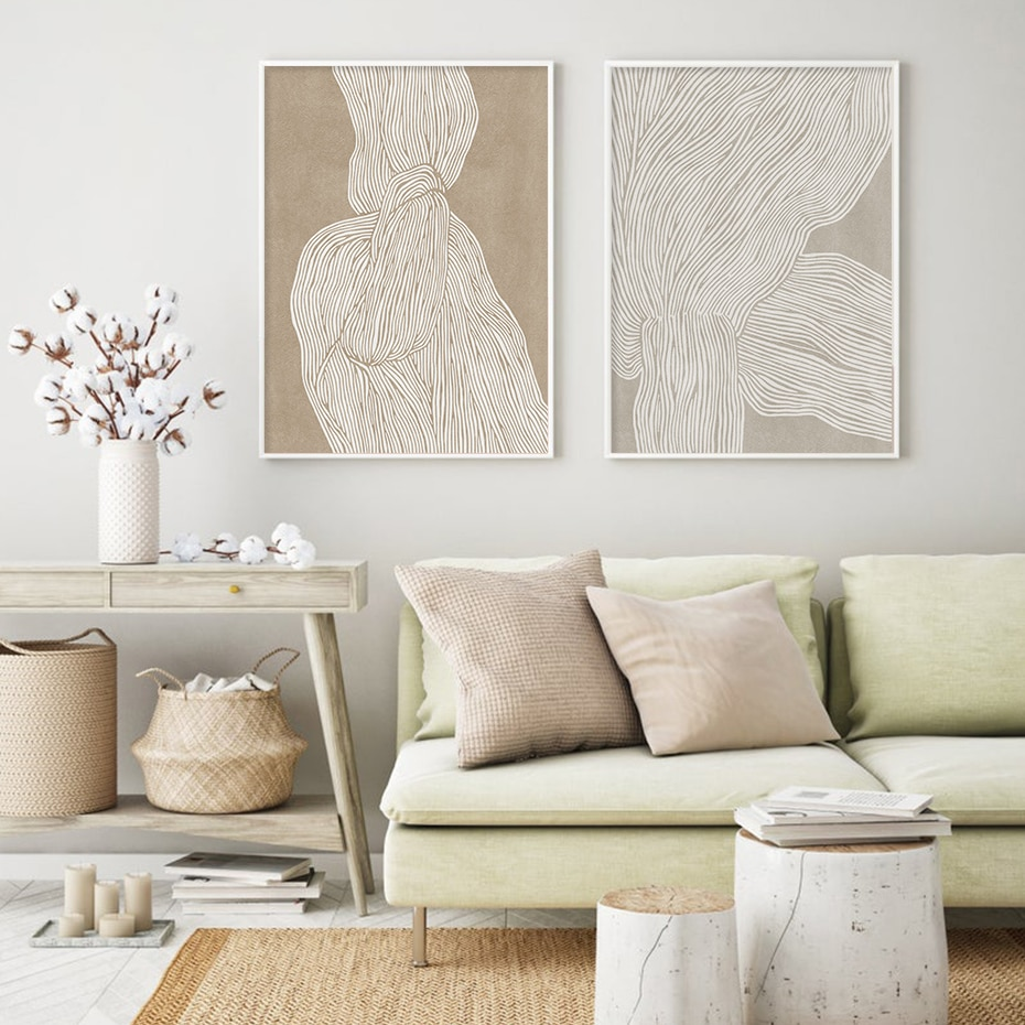 Boho Abstract Figure Sketch Line Texture Canvas Painting Pictures Wall Art Posters and Prints for Living Room Home Decorative