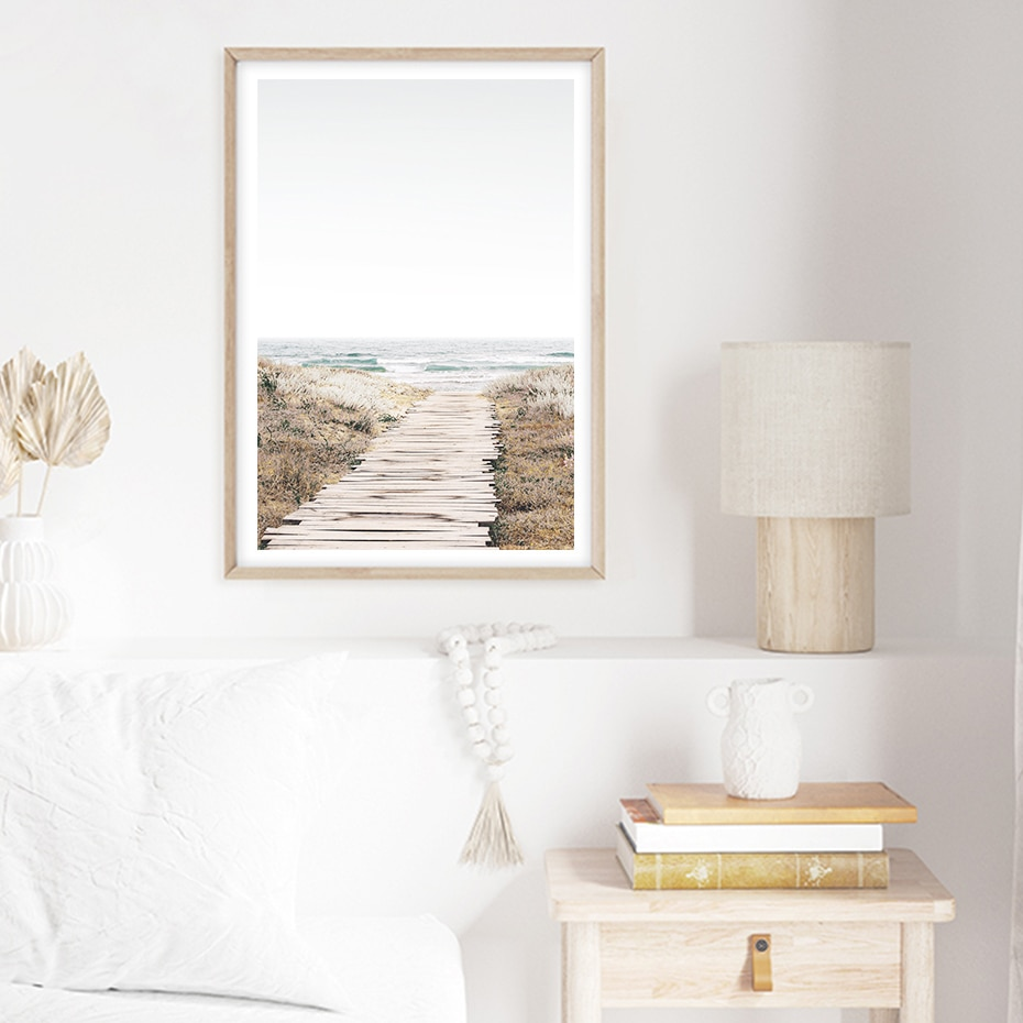 Pastel Sea Photo Coastal Beach Print Ocean Landscape Canvas Painting Wall Art Posters Print Pictures Living Room Home Decor