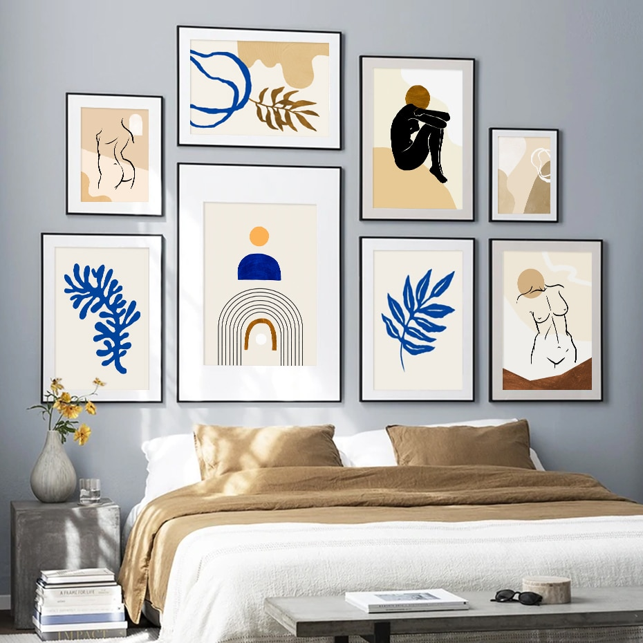 Beige Nudes & Botany Series Wall Art Poster Prints