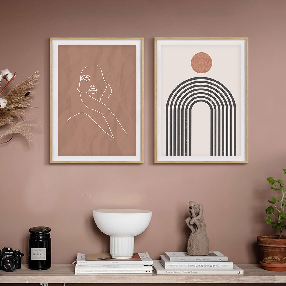 Taupe Series Face Line Art Poster Prints
