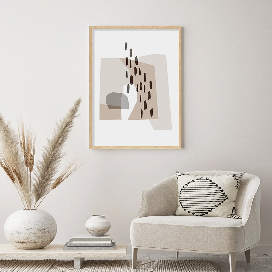 Abstract Bohemia Gray Irregular Geometry Modern Canvas Painting Wall Art Prints Posters for Living Room Home Interior Decoration