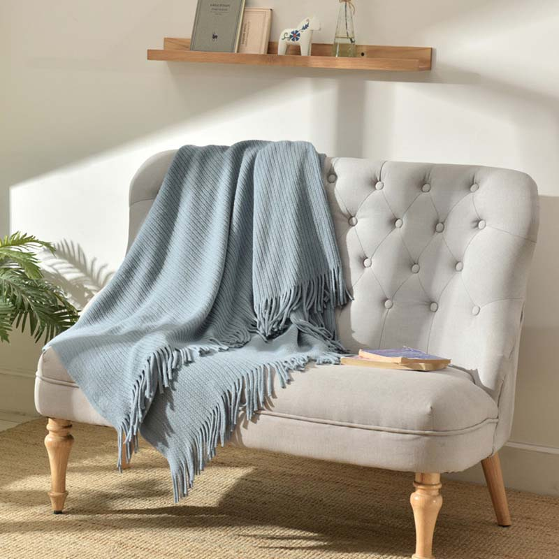 Candy Color Knitted Bed Couch Blanket Bench Office Quilt Cover Women Wrap Manta Armchair Recliner Plaid