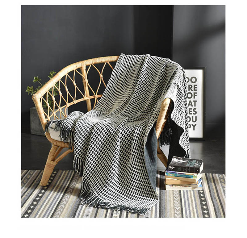 Waffle Knitted Plaid Bedding Tassel Blanket for Sofa Chaise Longue Airplane Cover Quilt Baby Bedding Comforter