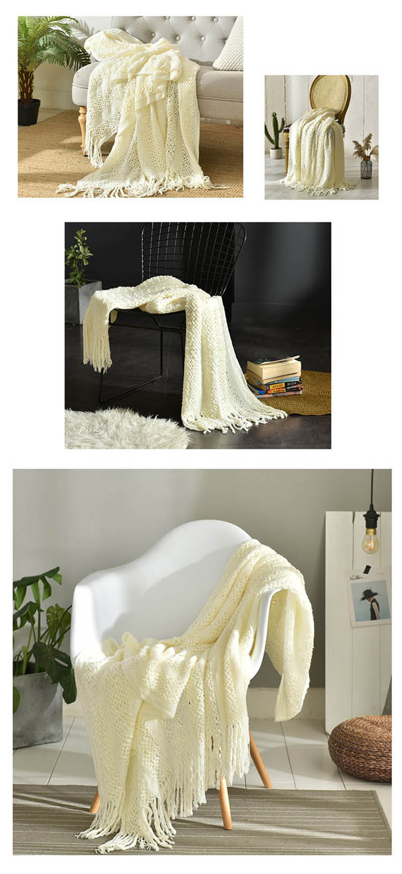 Bohemia Striped Knitted Couch Blanket Tassel Sofa Armchair Cover Office Respite Quilt Travel Plaid 130x150cm