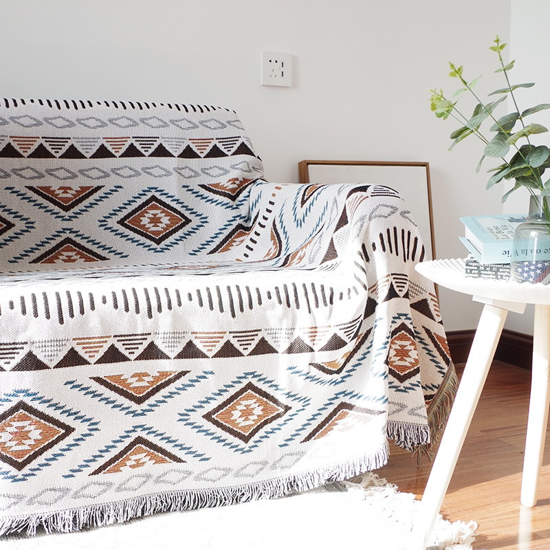 Geometry Knitted Sofa Cover with Tassel Blankets Couch Settee Decorative CoverTwo-Sided