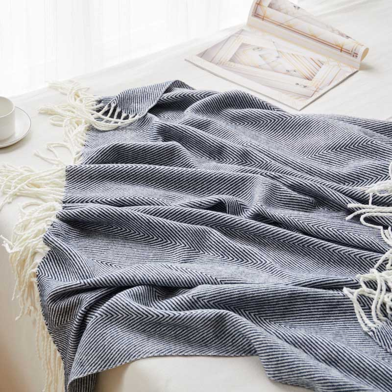 Hand Knitted Home Blanket Wave Fringed Couch Sette Cover Siesta Office Chaise Longue Plaid WOmen Mantas