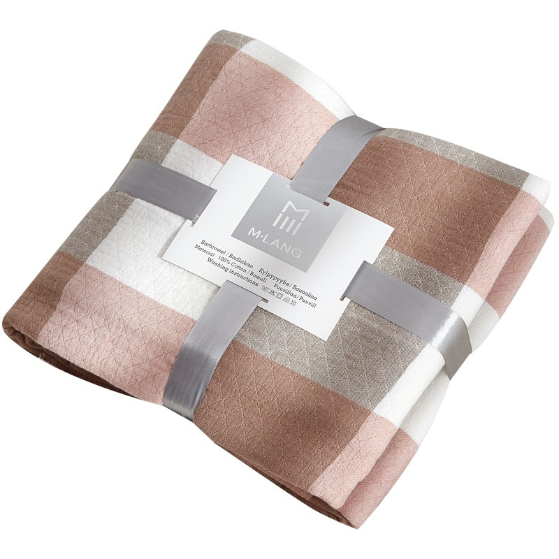 Plaid Cotton Gauze Quilted Blanket Chaise Longue Bedspread