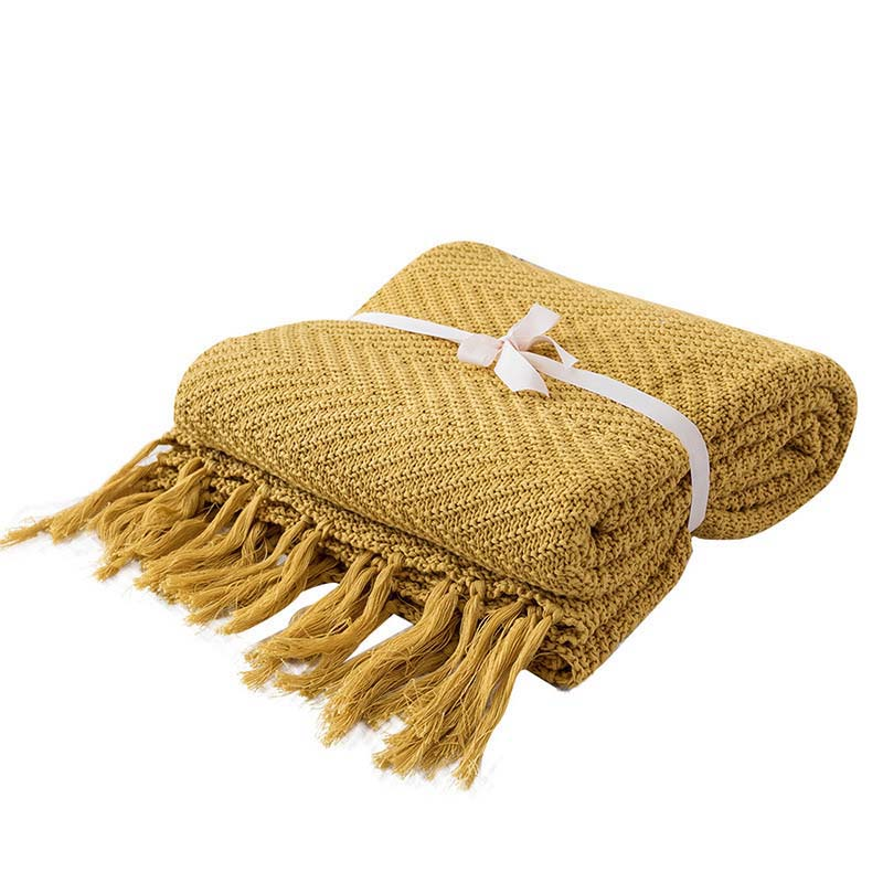 Nordic Knitted Cotton Tassel Settee Couch Blanket Sofa Plaid Women Office Tippet Manta Bedding Quilt Bedspread 130x170cm
