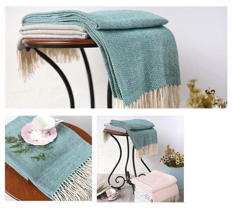 Yarn Dyed Tassel Blanket Elegant Women Beach Shawls Cloak Airplane Sofa Bed Runner Flag