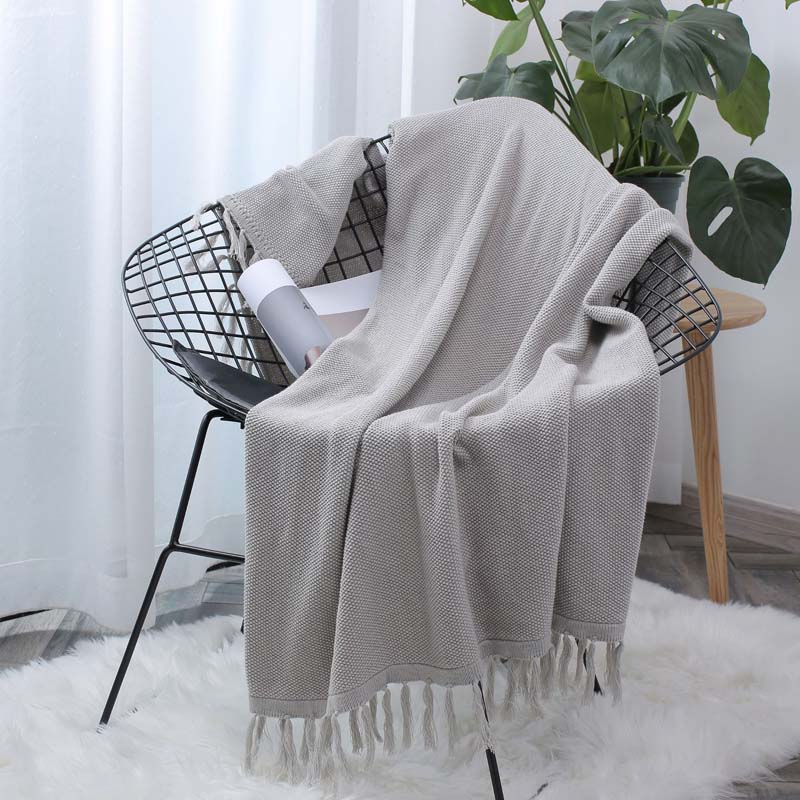 Nordic Style Tassel Chair Bench Blanket  Photography Armchair Chaise Longue Cover Office Women Manta Plaid