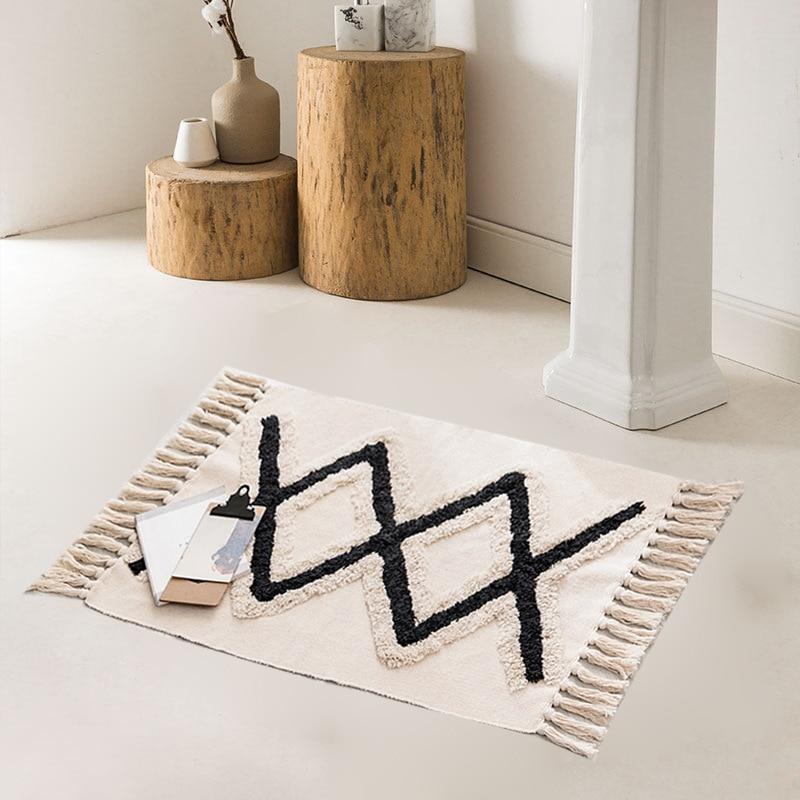 Bohemian Cotton Weave Welcome Door Mat Handmade Geometric Bathroom Carpet With Tassel Prayer Rugs