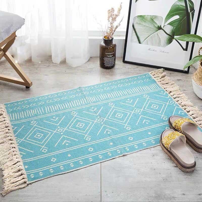 Cotton Linen Woven Carpet Non-slip Welcome Entrance Door Mat Bohemia Kitchen Door Rugs Women Shawl Manta