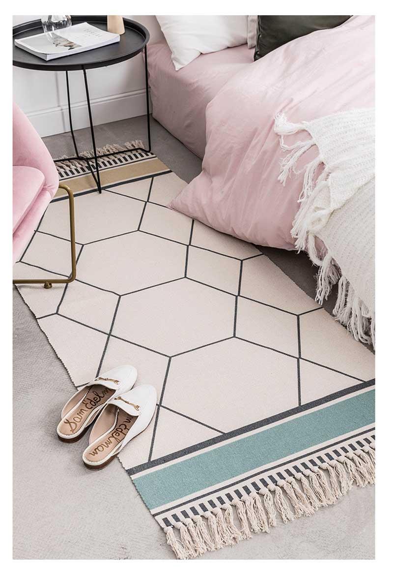 Triangle Pattern Tribal Print Linen Cotton Floor Mat