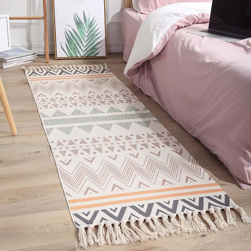 Bohemian Cotton Linen Handmade Bedroom Tassels Carpet Tea Table Sofa Long Mat Bathroom Doormat Home Wall Tapestry