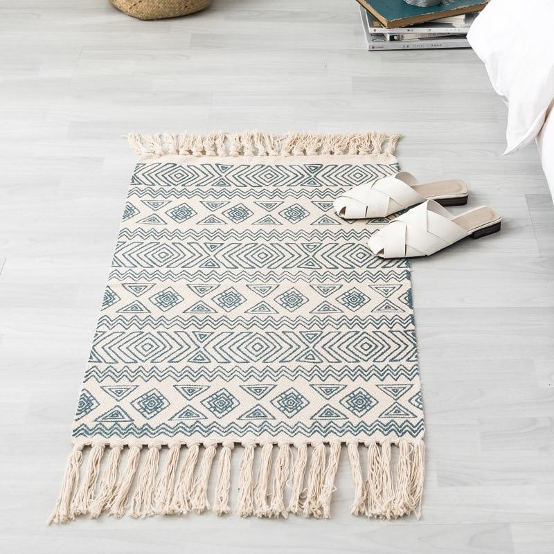 Cotton&Linen Handmade Tassel Carpet Home Bath Door Rugs Prayer Mats Bohemia Style Women Cape Mantle Beach Shawls
