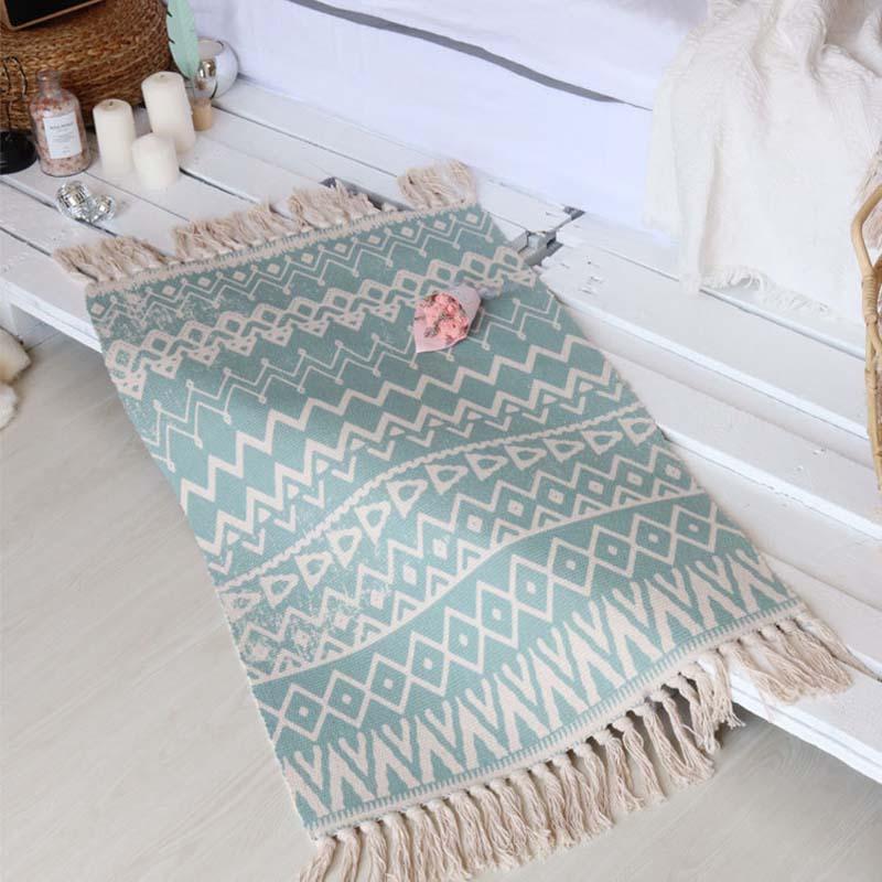 Bold Tribal Print Woven Linen Floor Mat