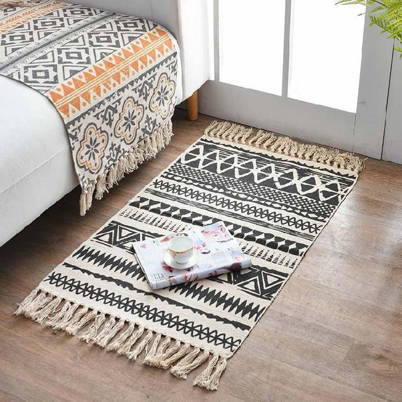 Bohemian Cotton Linen Woven Welcome Door Mat Bedroom Tassels Rugs Women Office Manta Hanging Tapestry