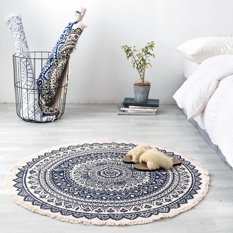 Bohemia Tassels Living Room Round Mat Bedside Yoga Sport Mattress Study Room Office Chair Pad