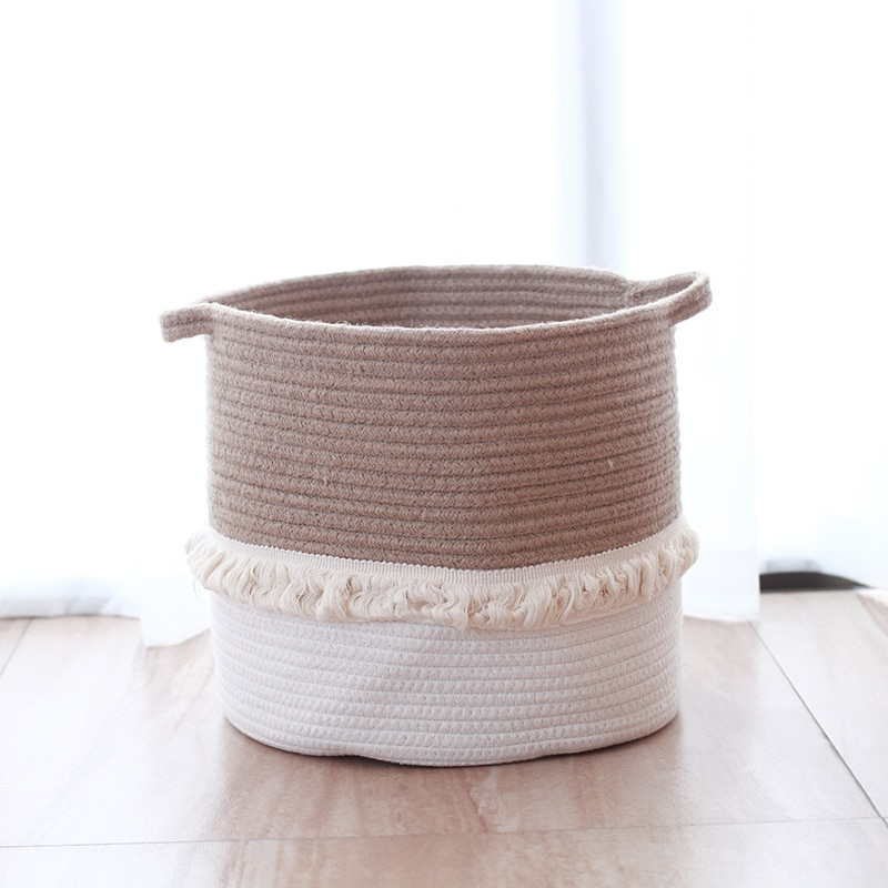 Cotton Storage Basket with Long Handles Decorative Clothes Hamper Basket Extra Large Baskets for Blankets Pillows or Laundry
