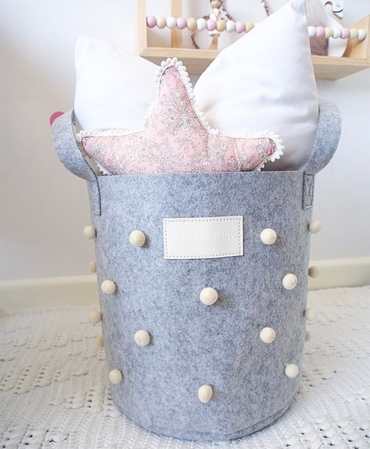 Large Laundry Hamper Felt Handwoven Laundry Basket with Handle Storage Organizer Bin for Clothes Kids Room Toy Collectio