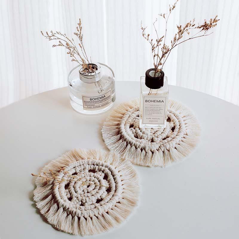 2pcs/lot Nordic Handmade Cotton Braid Macrame Cup Pad Creative Drink Coasters Round Tableware Tea Accessories