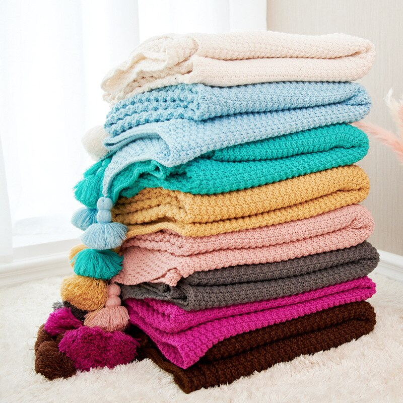 Air Conditioner Sofa Blanket Children Baby Throw Blanket with Tassel for Bed Travel Camping Christmas Decorations for Home