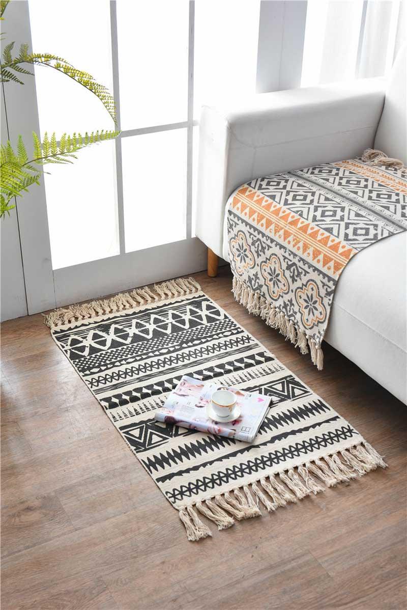 Bohemian Hand Woven Cotton Linen Kitchen Carpet Tassel Bedside Rug Floor Mat Living Room Bedroom Home Decoration 60x90CM