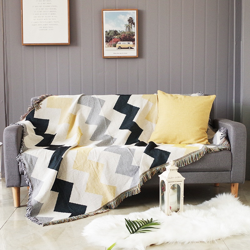 Double-Sided Tassels Living Room Throw Blankets for Couch Bed Decorative Sofa Slipcover Furniture Protector Soft Chair Cover