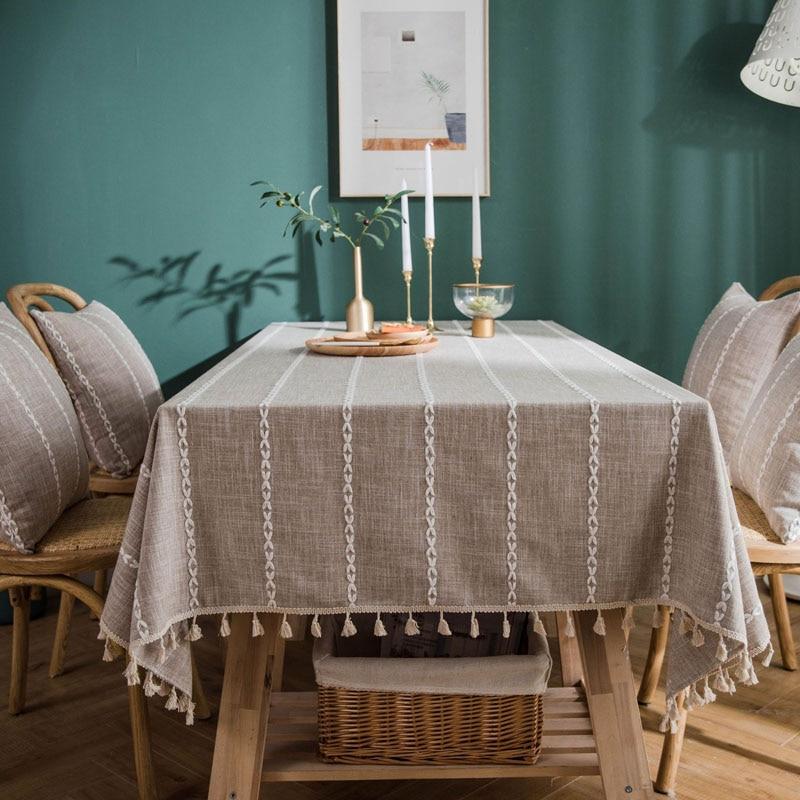 Raised Diamond Pattern Linen Table Cloth with Tassels