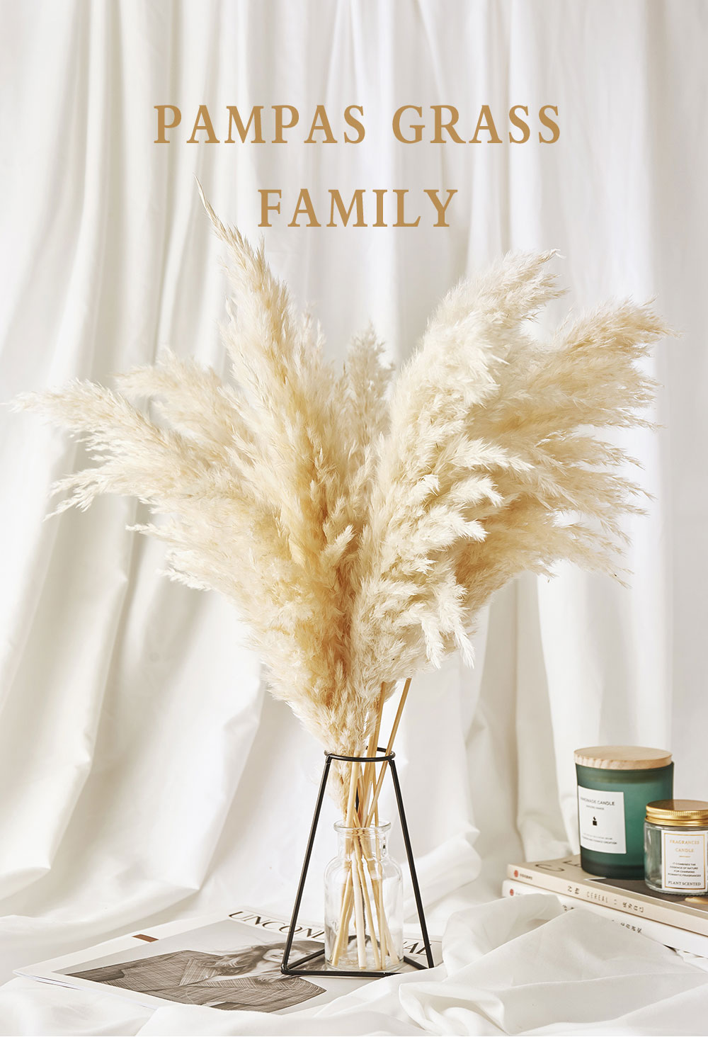 Pampas Grass Decor White Color Fluffy Natural Dried Flowers Bleached Bouquet Boho Vintage Style for Wedding Home Christmas Decor