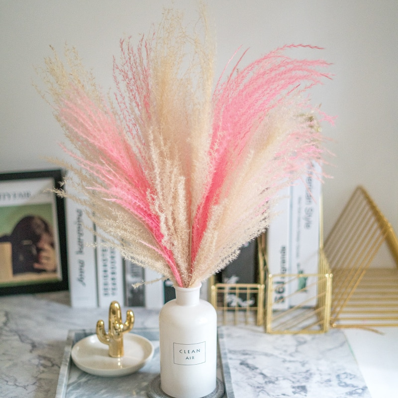 pink white color pampas grass decor dried natural flowers bouquets wedding flowers feather flowers tall 19-22'' christmas decor