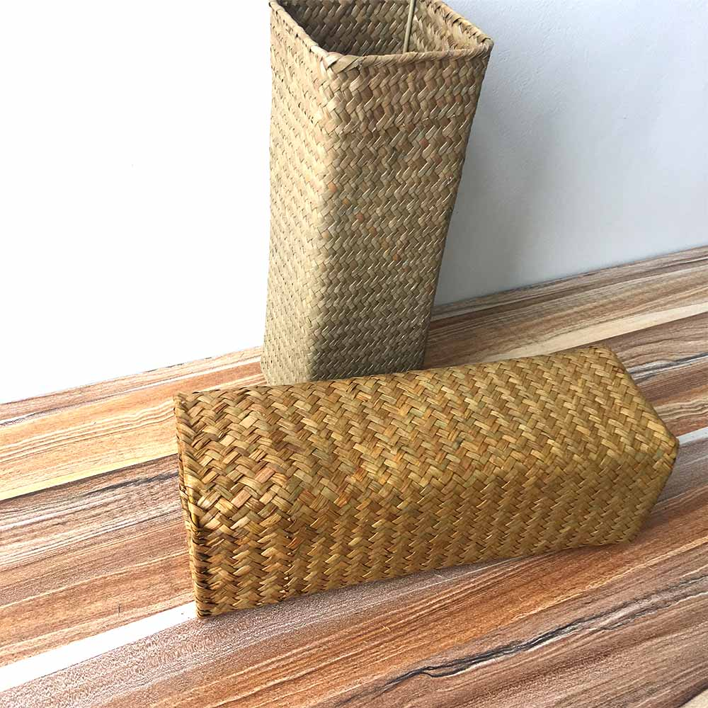 Hand-woven Natural Seagrass Basket Garden Flower Vase Rural style home decoration Dry flower decor Rectangular flower basket