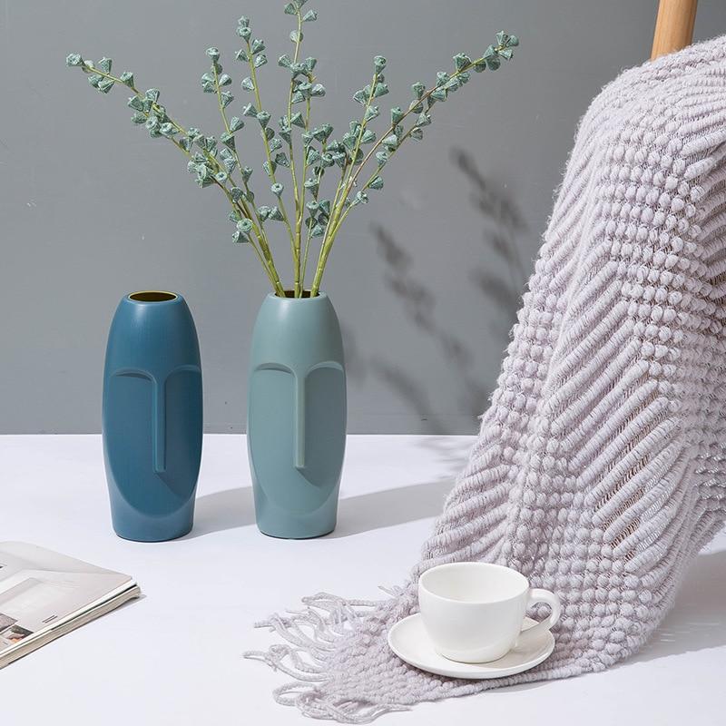 Plastic Vase Decoration Home Facial art vase Imitation Ceramic Modern Minimalist Abstract Vase Flower Pot Flower Basket