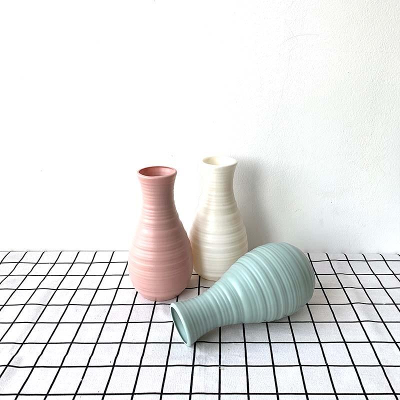 Origami Plastic Vase Milky White Imitation Ceramic Flower Pot Flower Basket Flower Vase Decoration Home Nordic Decoration