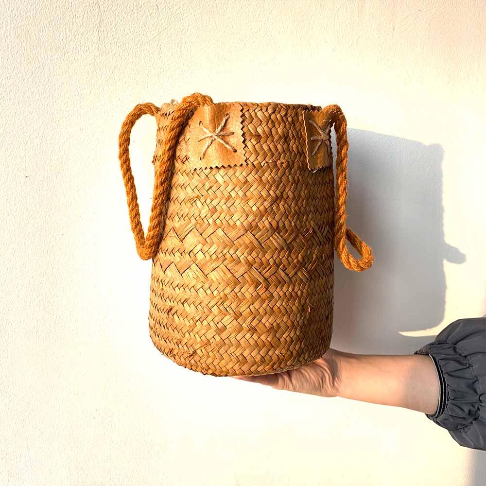 Seagrass Woven Storage Baskets Garden Flower Vase Hanging Basket Rattan Planter Potted Organizer Home Laundry Basket with Handle