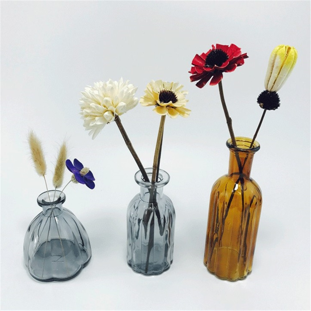 Narrow mouth Vases Art Glass Crystal Flower Hydroponic Bottle for Table Blue-grey Flowers Not Included