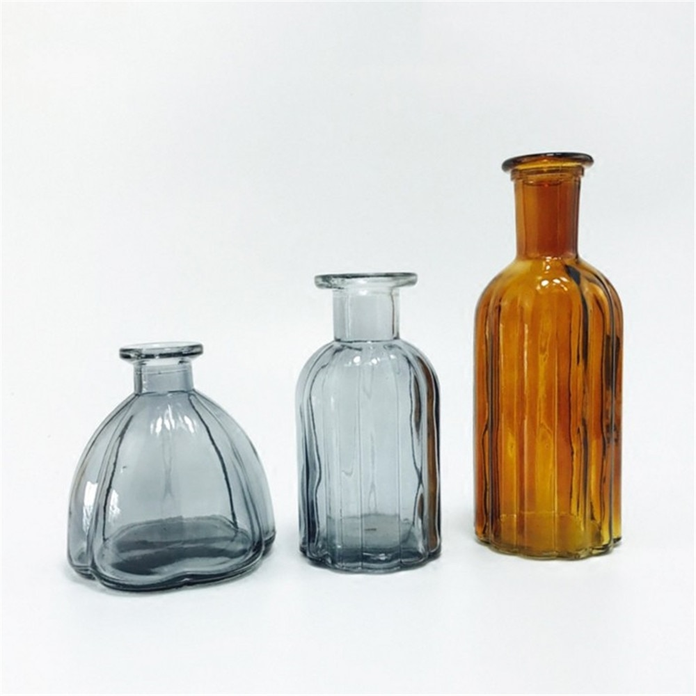 Narrow mouth Vases Art Glass Crystal Flower Hydroponic Bottle for Table Light-blue Flowers Not Included
