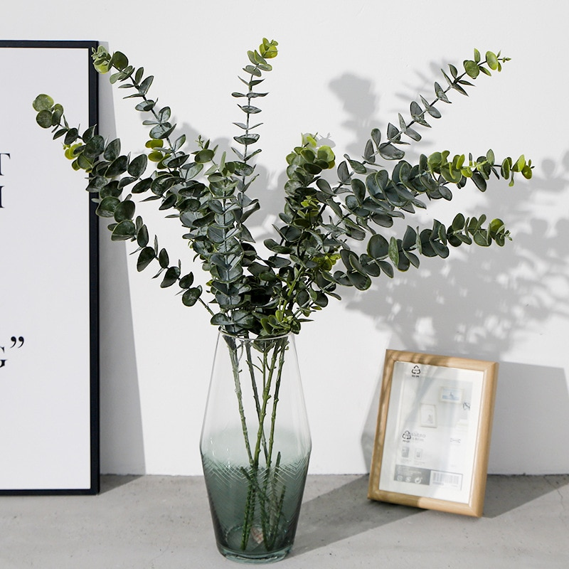 NEW Plastic Eucalyptus Tree Branch For Christmas Wedding Home Decoration Flower Arrangment Faux Foliage Eucalipto Branches