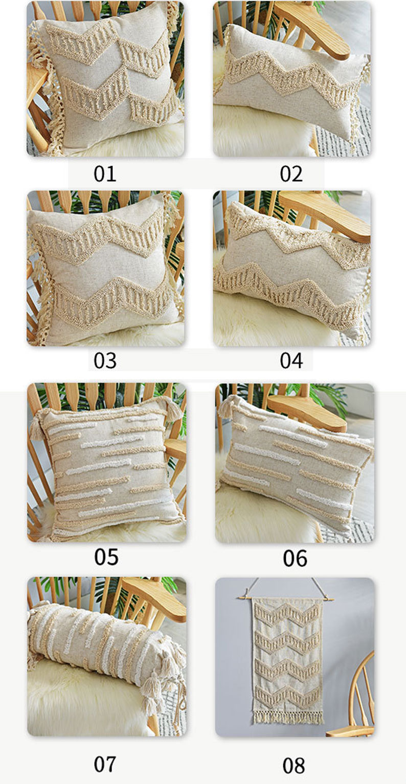 Tassels Cushion Cover Beige Pillows Boho Vintage Style Handmade Home Decor For Living Room Sofa Bed Chair Car Seat WithoutCorer