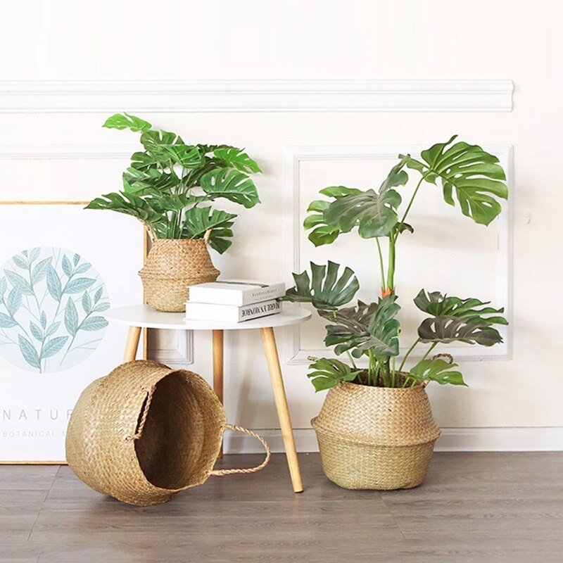 Planter Basket Seagrass Foldable Flower Pot Handmade Woven Storage Baskets with Handle Laundry Storage Toys Sundries Organizer