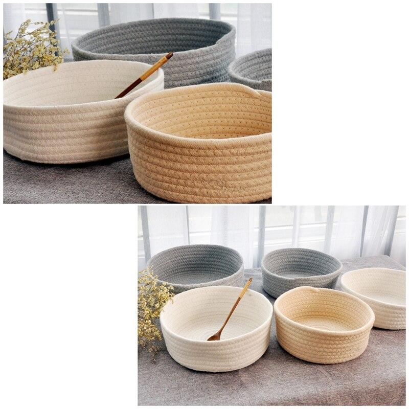Storage Basket Handmade Cotton Woven Storage Baskets Snacks Toy Book Desktop Organizer Sundries Cosmetic Storage Container Box