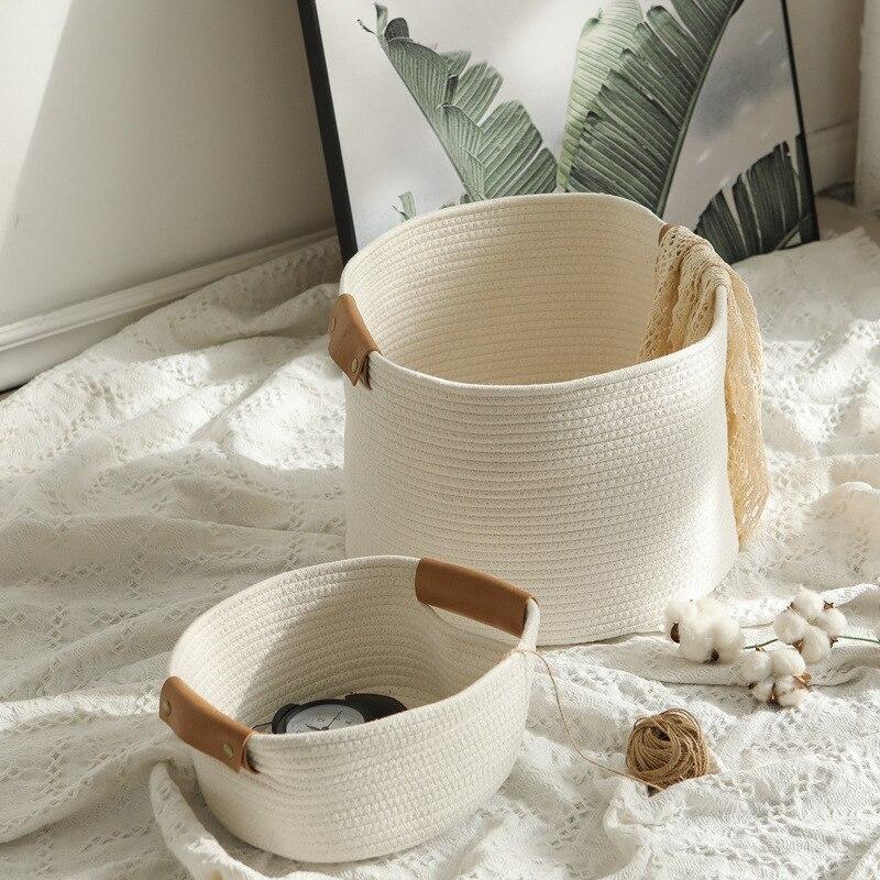 Woven Baskets for Organizing Cotton Rope Woven Storage Baskets Ins Storage Box Organizer Desktop Sundries Toys Organizer Box