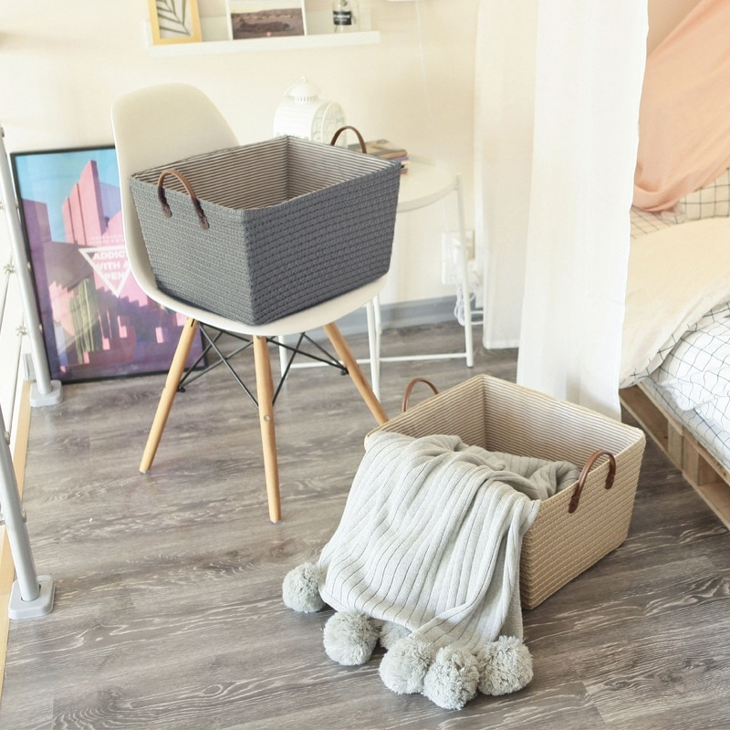 Foldable Storage Baskets Handmade Woven Basket with Handle Home Storage Box Organizer Ins Sundries Clothes Toys Organizers Box