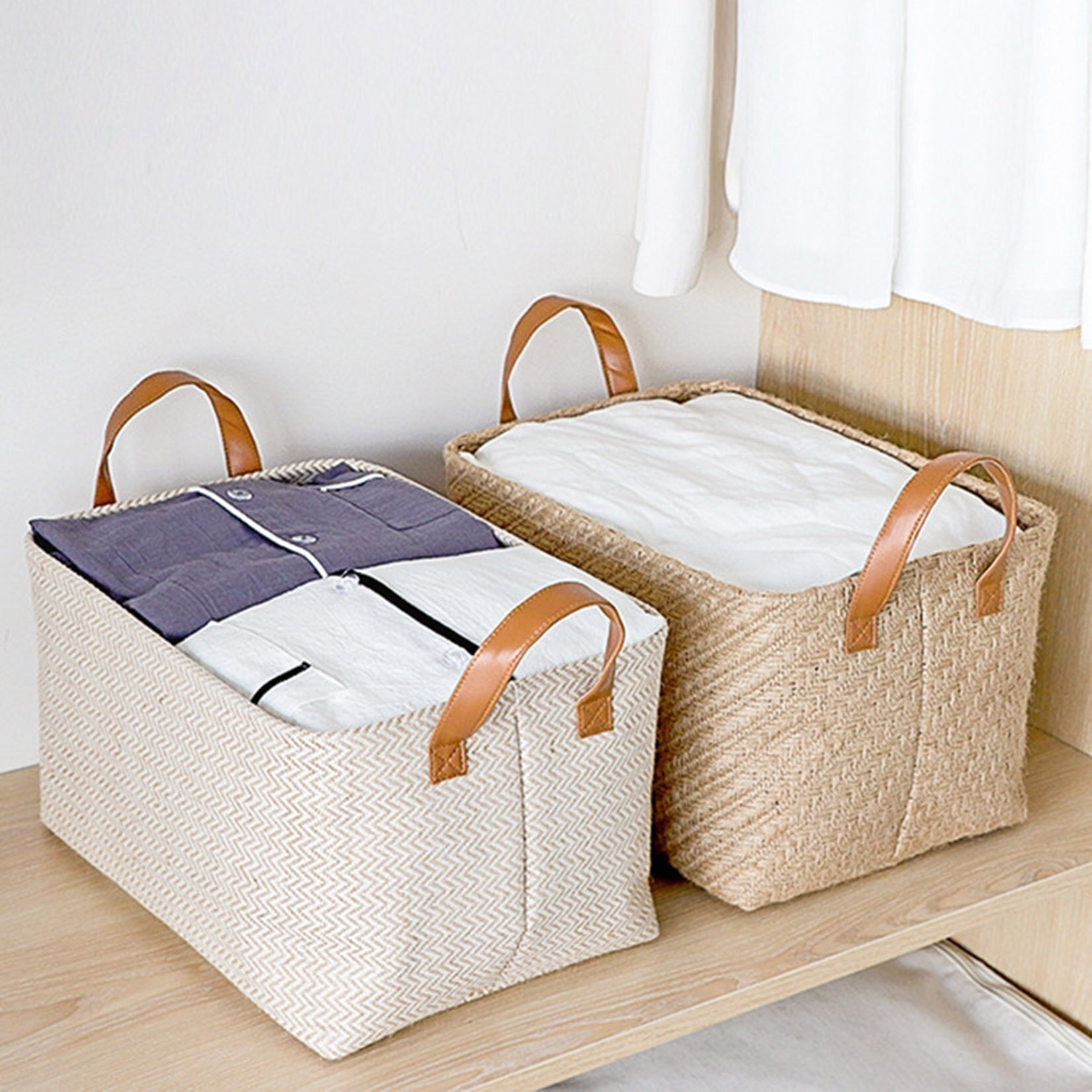 2pcs Woven Storage Baskets Foldable Storage Box with Handle Book Sundries Clothes Oragnizer Closet Organizer Large Woven Basket