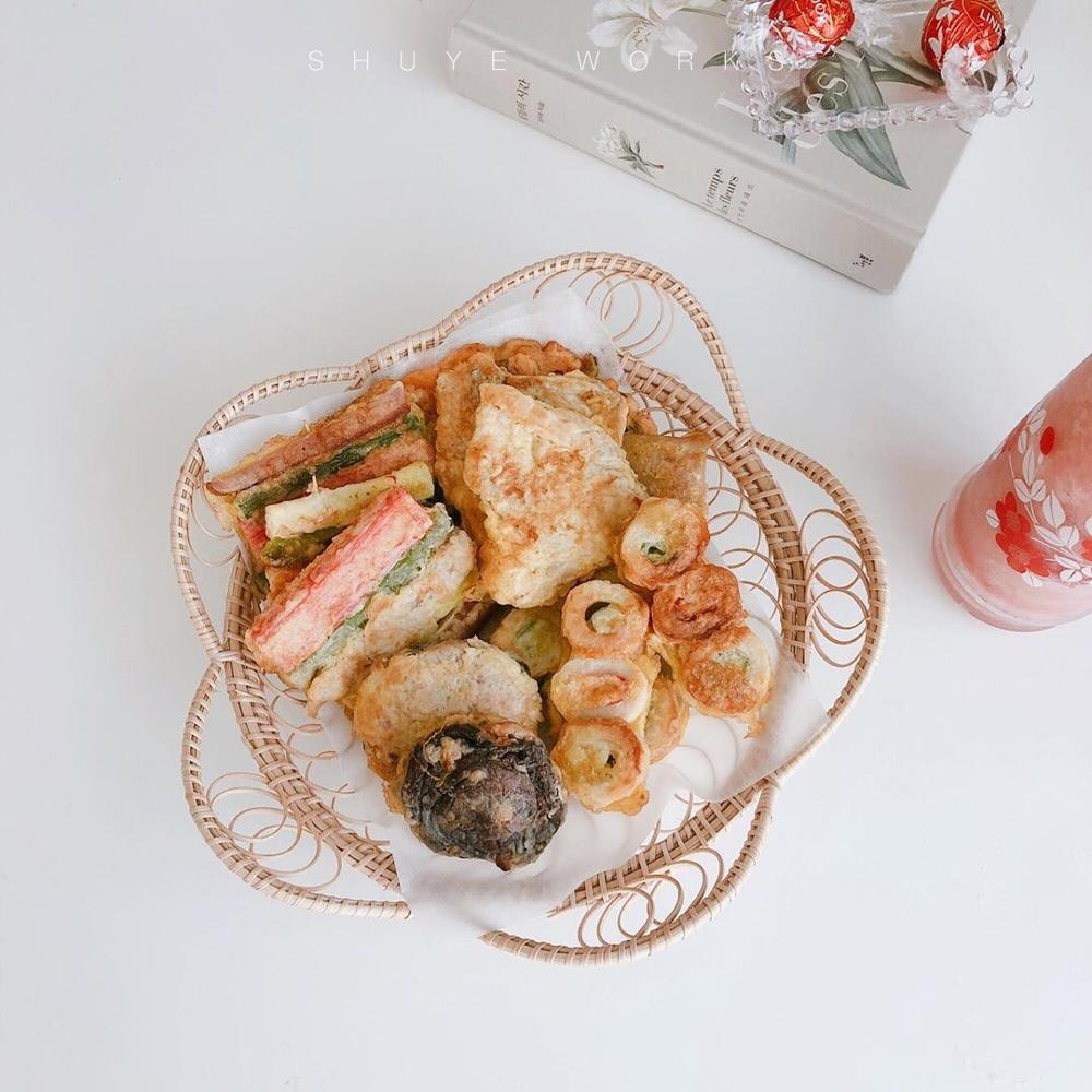 Rattan Dessert Plate Hand Woven Fruit Tray Breakfast Bread Small Basket Dessert Tray Household Living Room Storage Basket